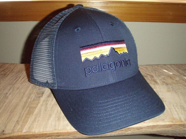 Buy Patagonia Line Logo LoPro Smolder Blue Trucker Hat online  c7e8ac98611