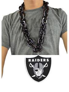 New-NFL-Oakland-Raiders-BLACK-Fan-Chain-Necklace-Foam-Magnet-2-in-1
