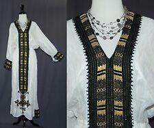 Ethiopian Traditional Dress Cream White Cotton Gauze Metallic Accents M L XL