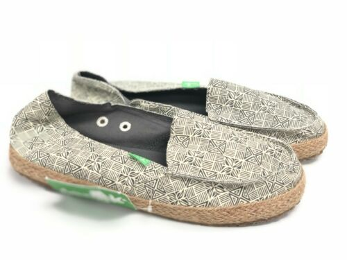 Sanuk Women/'s Funky Fiona Espadrille Flats 1020250 Grey Tiki Print Slip-On