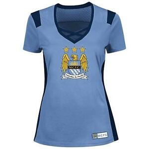 Manchester City Football Club Women's Draft Me Fashion Top With Bling, Blue
