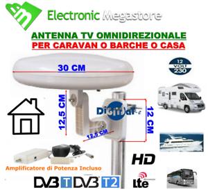 ANTENNA TV DIGITALE TERRESTRE OMNIDIREZIONALE CON FILTRO LTE,PER CAMPER,CASA,TIR