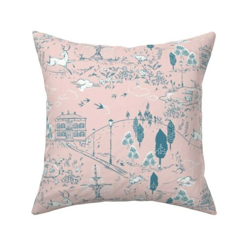 Toile Park Garden Woodland Deer Throw Pillow Cover w Optional Insert by Roostery