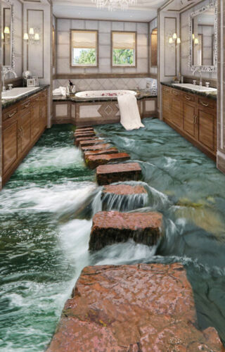 3D Stone Bridge Sea 406 Floor WallPaper Murals Wall Print Decal AJ WALLPAPER CA