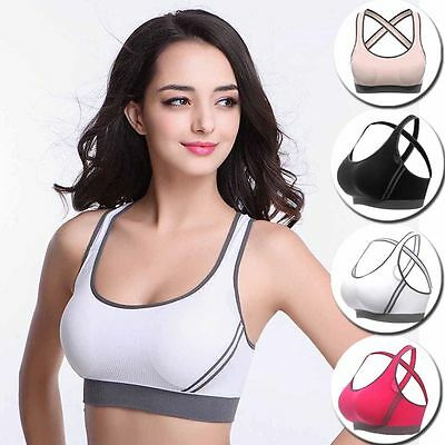 Womens Stretch Seamless Athletic Sports Yoga Gym Padded Bra Racerback Tank Tops