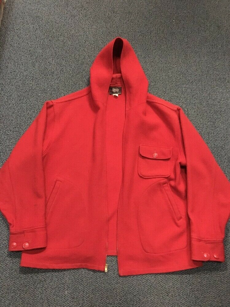 Vintage 40s 50s Woolrich Red Wool Hunting Zip-Up … - image 8