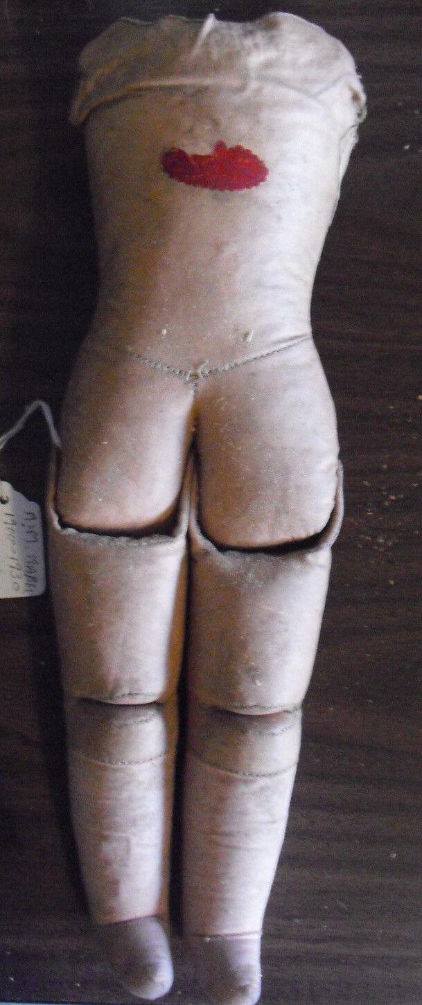 Vintage 1920s Germany Label Leder Cloth Doll Body 13 1/2