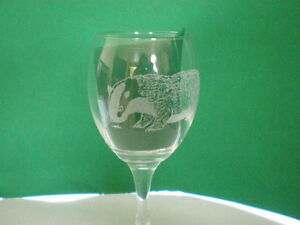 Personalised Gifts Freehand Engraved Wine Glass Wildlife Badger Name Added FREE