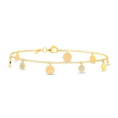 Spirited Femmes 0,15 Ct 14k Or Jaune Coupe Ronde Naturelle Diamants Pavé Cercle Disque Fine Jewelry