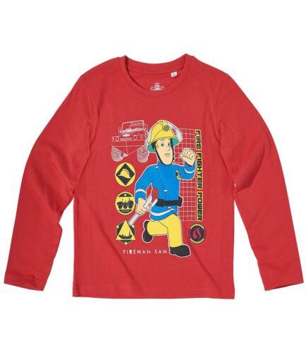 Neu Langarmshirt Shirt Jungen Feuerwehrmann Sam blau rot 104 110 116 128 #90