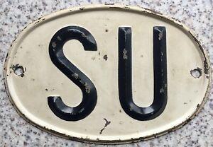 GENUINE-Rare-Soviet-Union-Russian-Pressed-Steel-Country-Oval-SU