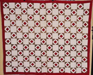 ANTIQUE-RED-AND-KHAKI-DIAMOND-IN-SQUARES-QUILT-C-1880