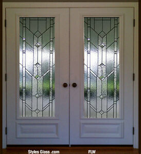 Stain Glass Pocket Or French Interior Doors With Frank L Wright Style Glass Ebay