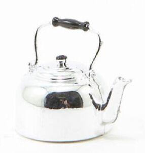 Dollhouse-Miniature-Silver-Teapot-Tea-Kettle-1-12-Scale