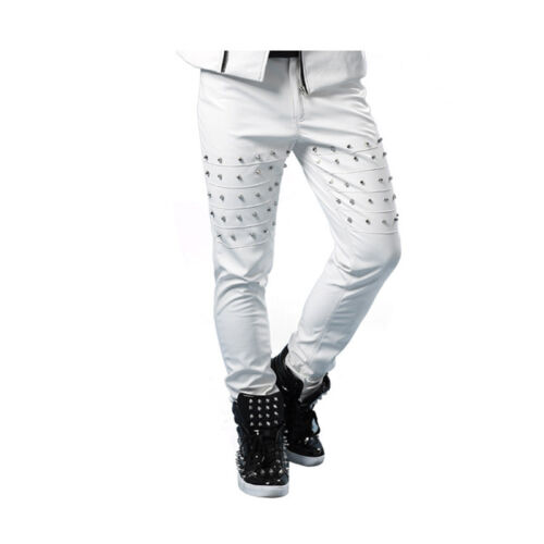 Mens PU Leather Slim Fit Studs Punk Pant Nightclub Dress Rivet Trousers Costumes
