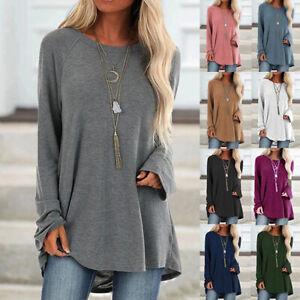 Womens-Autumn-Tee-Long-Sleeve-T-shirt-Plain-Basic-Loose-Shirt-Blouse-Ladies-Tops