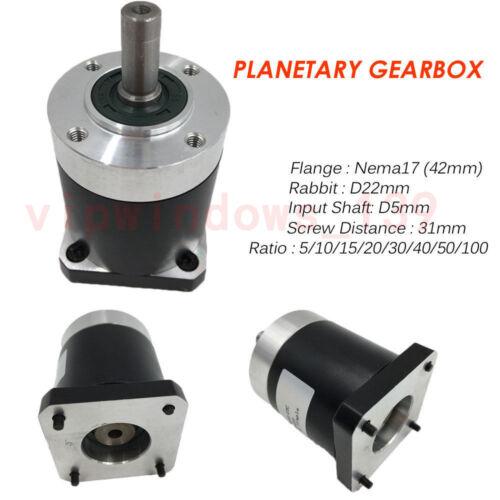 Nema17 23 34 Planetary Gearbox CNC Motor Speed Reducer 5//10//15//20//30//40//50//100:1