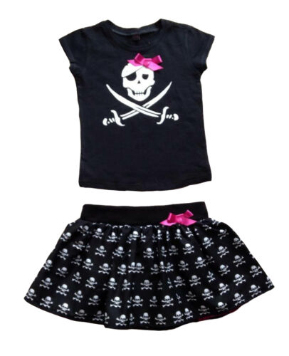Pirate Skull Print T-shirt /& Tutu Baby Outfit Goth Rockabilly Punk Alternatots
