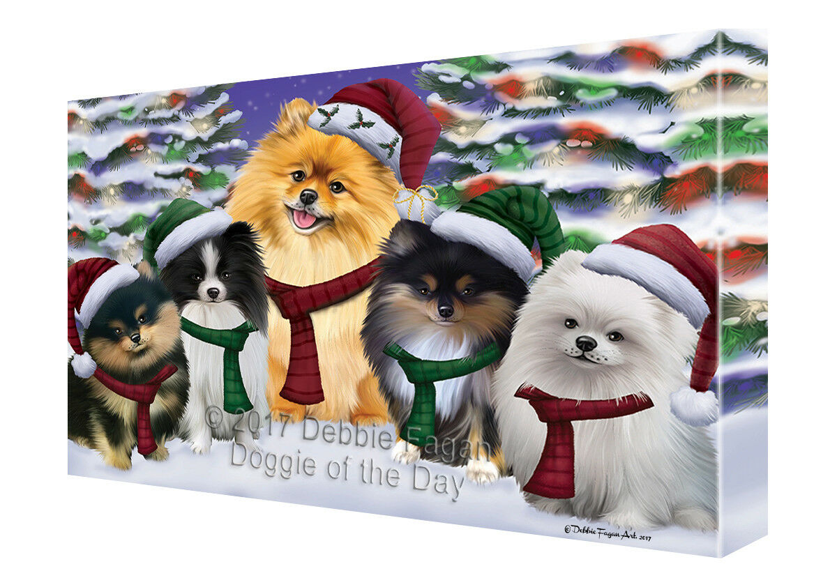 Pomeranians Dog Christmas Family Portrait in Holiday Background Canvas Wall Art