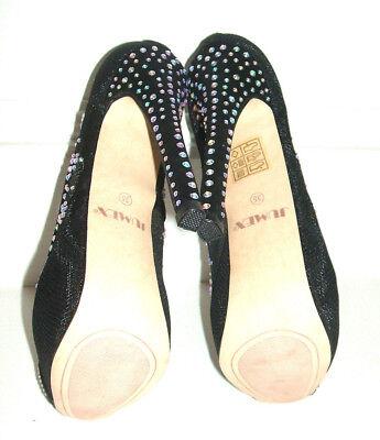 Zapatos De Tacón Alto tamaño 2 2.5 3 Negro Diamante Malla Red Encaje Ocasión Especial De Tacón Alto & Bolsa