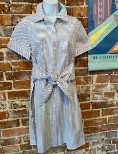 Denim Co Navy Blue Seersucker Shirt Dress Tie Waist Xs New Ebay