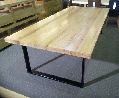 Queenscliff Solid Blackbutt Timber Dining Table Metal U Shaped Legs Ebay