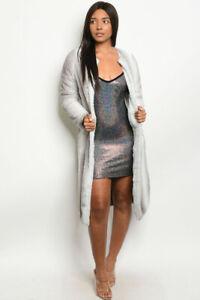 New-Super-Soft-Gray-Faux-Fur-Mink-Open-Front-Pockets-Maxi-Coat-Jacket-S-M-L