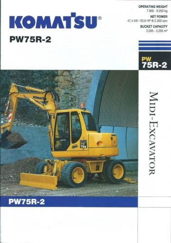 Equipment Brochure - Komatsu - PW75R-2 - Midi Wheel Excavator - 2004 (E3466)