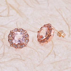 Details About 2 50ctw Cushion Cut Morganite Vintage Halo Earrings In 14k Rose Gold