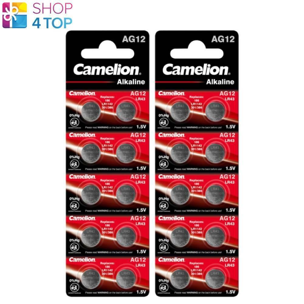 20 Camelion lr1142 lr43 Alkaline Batteries ag12 1.5v 386 due 2025 10bl NEW