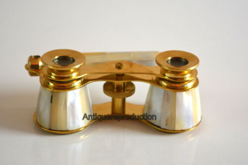 ANTIQUE VINTAGE MARITIME BRASS MOTHER OF PEARL BINOCULAR OPERA GLASSES BINOCULAR