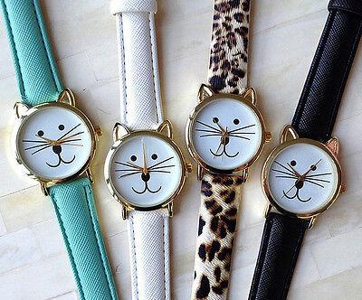 Cute Cat Design Leather Quartz Analog Luxury Lady Women Leather Wrist Watch