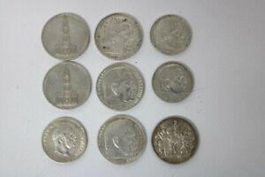 9 Silbermünzen Hindenburg und Österreich