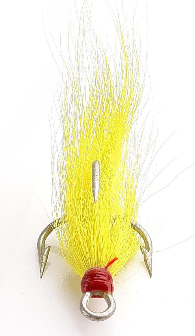 yellow, sz: 1,1//0,2//0,3//0 50 Bucktail Dressed Mustad 3561E Treble Triple Hooks