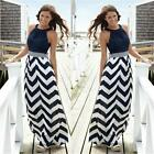 Boho Women Black White Stripe Summer Maxi Dress Long Party Beach Skirt S-5XL JJ