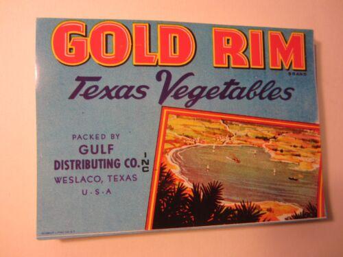 Wholesale Lot of 100 Old Vintage GOLD RIM Texas Vegetables LABELS Weslaco