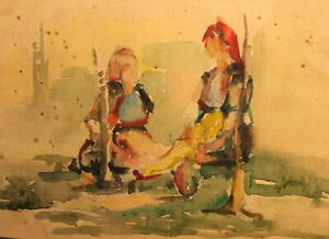 Enthusiastic Vintage Expressionist Watercolor Painting Women Portrait Exquisite Craftsmanship; Art