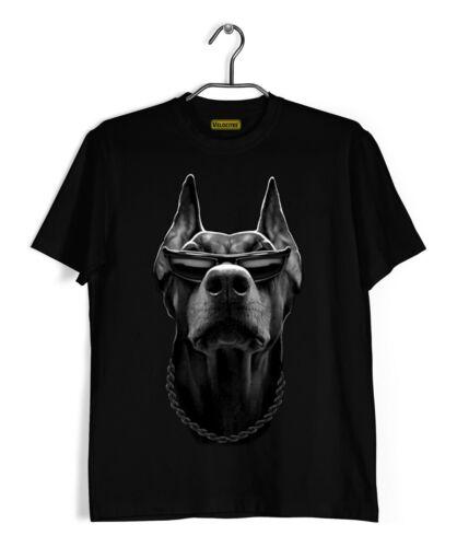 Velocitee Homme Cool Doberman T shirt Gangster Mafia Mob Voyou Chien Motard A15047