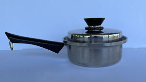 Amway Queen 18/8 3-ply Stainless waterless Cookware 1 qt saucepan w/ Lid USA EUC