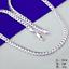 """Fashion 925 Plaqué Argent 5 mm Côté chaîne serpent Collier Femmes Hommes Bijoux 20/"""""""