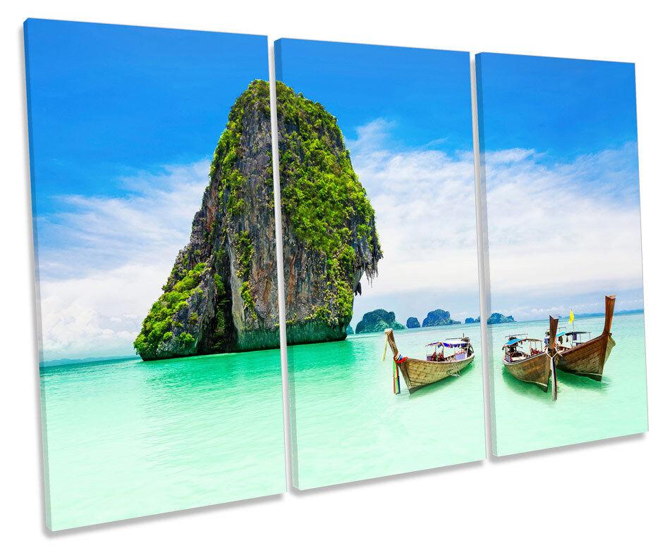Paradise Beach Boats Thailand Bild TREBLE CANVAS Wand Kunst Drucken