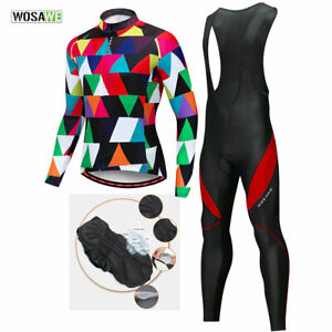 Men-039-s-Cycling-Sets-Long-Sleeve-Jersey-Bib-Pants-Padded-MTB-Bike-Kits-Breathable