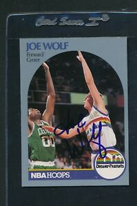 1990/91 Hoops #412 Joe Wolf Denver Nuggets Signed Auto *A1838
