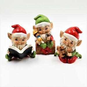 Homco-Christmas-Santa-Elf-Figurines-5406-Big-Eyes-Pointy-Ears-Taiwan-Lot-of-3