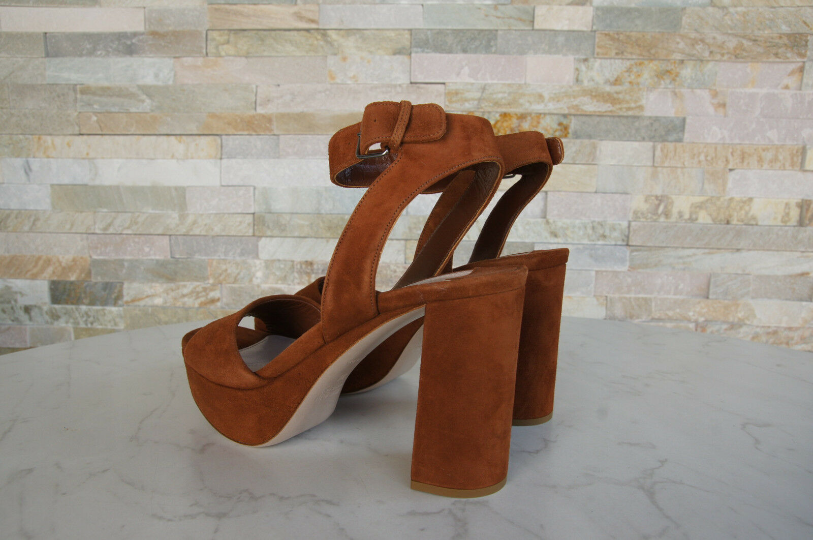 MIU Sandaletten MIU Gr 40 Plateau Sandaletten MIU Sandales Schuhe braun palisander NEU 72f6ab