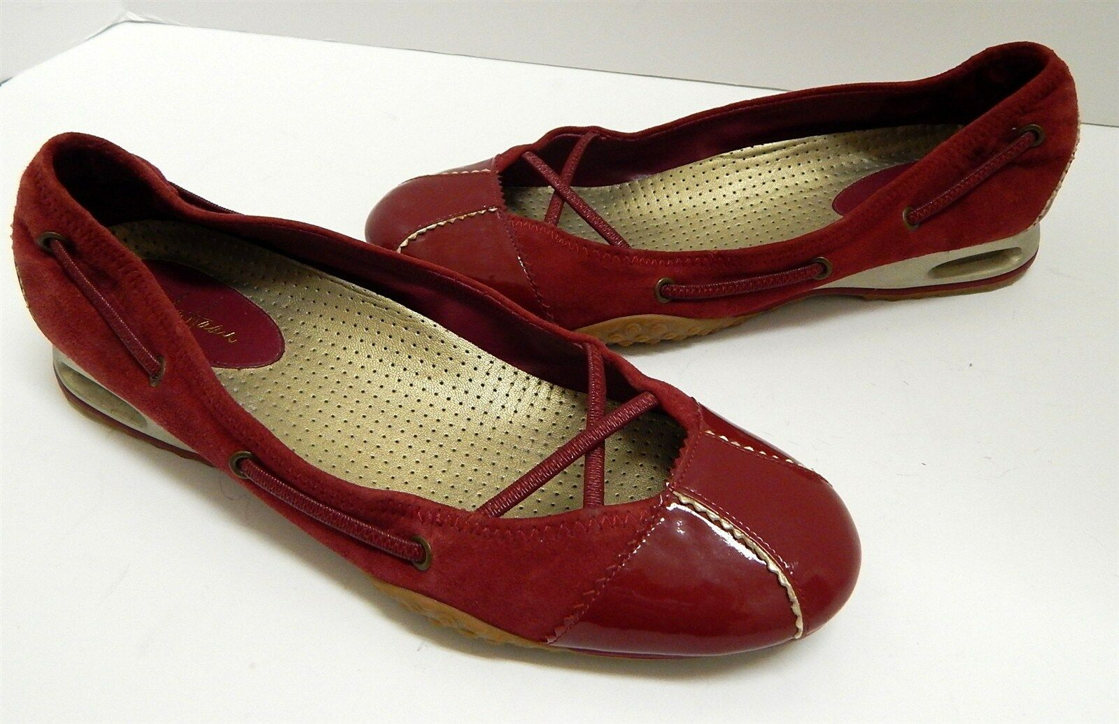 Cole Haan 8 B ROT Suede Patent Leder Ballet Flats