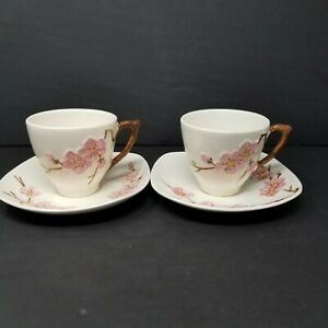 Vintage-50s-Metlox-Poppytrail-Pink-Peach-Blossom-Cup-amp-Saucer-Set-of-2