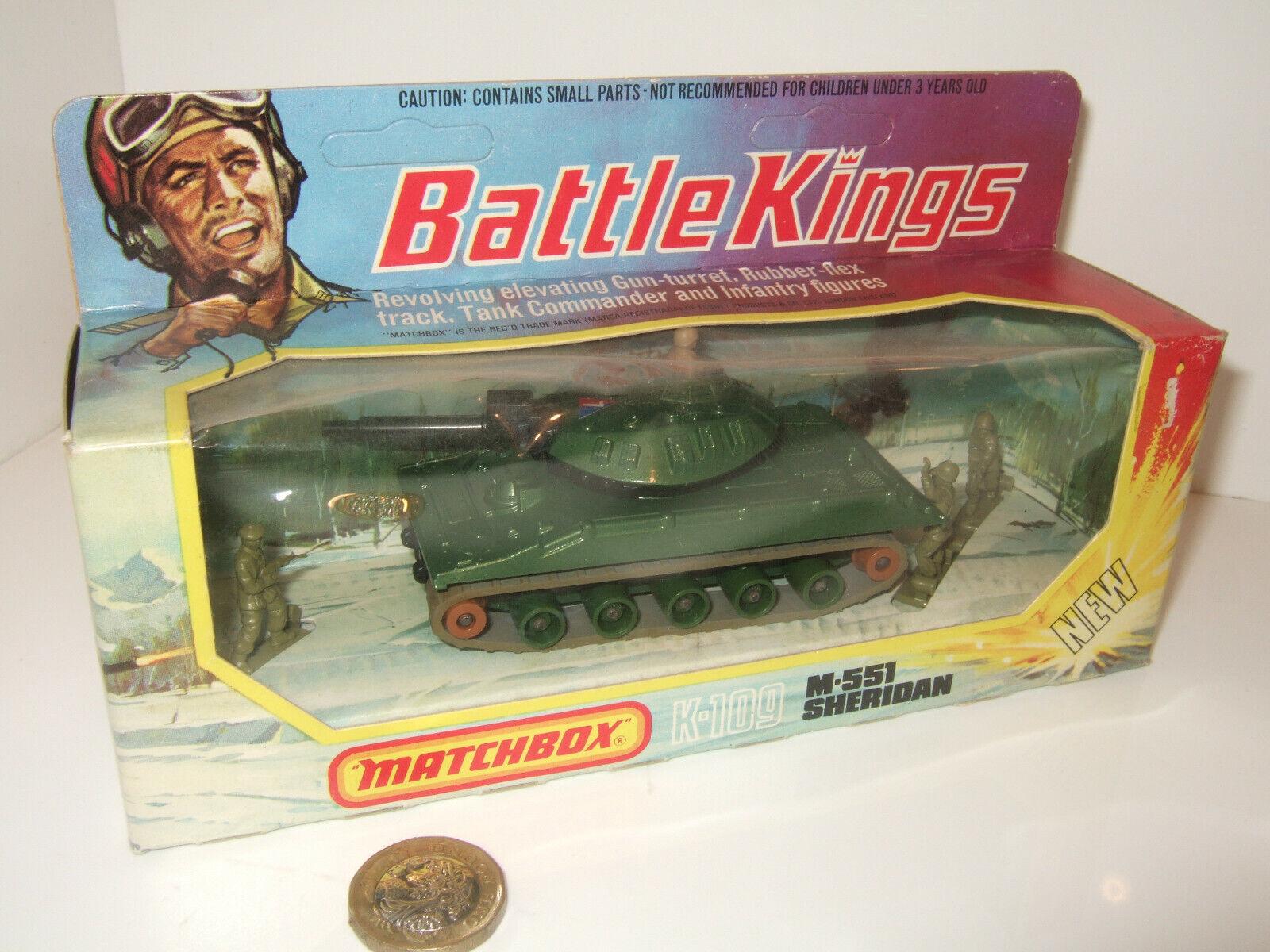 descuento de bajo precio Raro Matchbox batalla Reyes K-109 K-109 K-109 M-551 Sheridan & Commander & Figuras De Infantería  venta