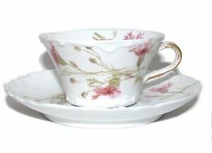 Haviland-amp-Co-Limoges-France-Pink-Carnation-Flat-Bottom-Demitasse-Cup-Saucer