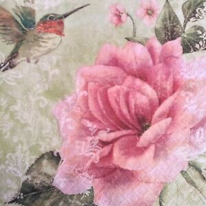 paper napkins decoupage x 2 birds and flowers